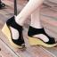 รองเท้าส้นเตารีดรัดส้น หุ้มข้อ แต่งซิป [สีดำ ] thumbnail 2