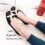 พร้อมส่ง รองเท้าคัทชูส้นแบนสีดำ ยางนิ่มประดับโบว์ แฟชั่นรับหน้าฝน แฟชั่นเกาหลี [สีดำ ]