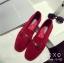 พร้อมส่ง รองเท้าคัทชูส้นแบนสีแดง ผ้าสักหราด น้ำหนักเบา แฟชั่นเกาหลี [สีแดง ] thumbnail 3