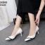 รองเท้าคัทชูหัวแหลม ส้นเข็ม สไตล์สาวออฟฟิศ [สีครีม ] thumbnail 2
