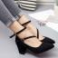 พร้อมส่ง รองเท้าคัทชูส้นสูงรัดข้อสีดำ หัวแหลม ผ้าสักหราด แฟชั่นเกาหลี [สีดำ ] thumbnail 1