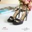 พร้อมส่ง รองเท้าส้นสูงรัดส้นสีดำ เปิดหน้าเท้า แฟชั่นเกาหลี แฟชั่นเกาหลี [สีดำ ] thumbnail 1