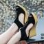 รองเท้าส้นเตารีดรัดส้น หุ้มข้อ แต่งซิป [สีดำ ] thumbnail 3