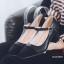 พร้อมส่ง รองเท้าคัทชูส้นตันรัดข้อสีดำ หัวตัด ผ้าสักหราด แฟชั่นเกาหลี [สีดำ ] thumbnail 2