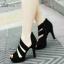 พร้อมส่ง รองเท้าส้นสูงหุ้มข้อสีดำ ผ้าสักหราด สวยเปรี้ยว แฟชั่นเกาหลี [สีดำ ]