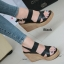 รองเท้าส้นเตารีดรัดส้น สายไขว้ กระชับเท้า [สีดำ ] thumbnail 1