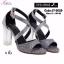 พร้อมส่ง รองเท้าส้นตันรัดข้อเท้าสีดำ ผ้ากลิตเตอร์ ส้นแก้ว แฟชั่นเกาหลี [สีดำ ] thumbnail 3