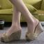 พร้อมส่ง รองเท้าส้นเตารีดสีเหลือง ผ้าปอกระเจา ประดับโบว์ แฟชั่นเกาหลี [สีเหลือง ] thumbnail 1