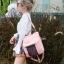 กระเป๋าเป้ผู้หญิง กระเป๋าสะพายข้างแฟชั่น ปักลายวินเทจ สะพายข้างหรือสพายหลังก็ได้ [สีชมพู ] thumbnail 2