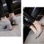 พร้อมส่ง รองเท้าคัทชูส้นตันสีเทา หัวแหลม ผ้าสักหราด แฟชั่นเกาหลี [สีเทา ] thumbnail 4