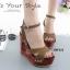 พร้อมส่ง รองเท้าส้นตึกรัดส้นสีน้ำตาล สายคาดไขว้ ส้นไม้ Korean Style Platform แฟชั่นเกาหลี [สีน้ำตาล ] thumbnail 3