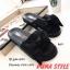 พร้อมส่ง รองเท้าแตะผู้หญิง แบบสวม ผ้าซาติน แต่งโบว์ แฟชั่นเกาหลี [สีดำ ] thumbnail 2