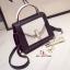 กระเป๋าสะพายแฟชั่น กระเป๋าสะพายข้างผู้หญิง 2tone วัสดุหนังPUหนาอย่างดี [สีดำ ] thumbnail 1
