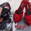 พร้อมส่ง รองเท้าส้นเตี้ยเปิดส้นสีแดง หัวแหลม แต่งกุหลาบ แฟชั่นเกาหลี [สีแดง ] thumbnail 4