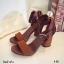 พร้อมส่ง รองเท้าส้นสูงรัดข้อสีน้ำตาล หนังกลับ ใส่กระชับเท้า แฟชั่นเกาหลี [สีน้ำตาล ] thumbnail 5