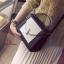 กระเป๋าสะพายแฟชั่น กระเป๋าสะพายข้างผู้หญิง 2tone วัสดุหนังPUหนาอย่างดี [สีดำ ] thumbnail 3