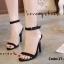 รองเท้าส้นเข็มรัดข้อ สไตล์เกาหลี [สีดำ ] thumbnail 4