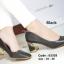 พร้อมส่ง รองเท้าคัทชูส้นตันสีดำ แต่งเมทาลิกสีทอง Chunky Shoes แฟชั่นเกาหลี [สีดำ ] thumbnail 4