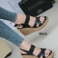 รองเท้าส้นเตารีดรัดส้น สายไขว้ กระชับเท้า [สีดำ ] thumbnail 4