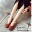 พร้อมส่ง รองเท้าคัทชูส้นแบนสีน้ำตาล หัวตัด กำไรข้อเท้าไข่มุก แฟชั่นเกาหลี [สีน้ำตาล ] thumbnail 3