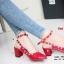 รองเท้าส้นตันรัดส้น หัวแหลม Chunky Style valentino [สีแดง ] thumbnail 2