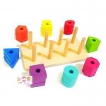 ของเล่นไม้เสริมพัฒนาการ สวมหลักสอนสีเเละรูปทรง 8 ชนิด