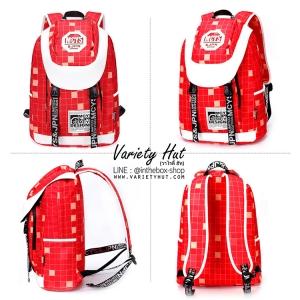 กระเป๋าเป้สะพายหลังลายหมากรุกใช้ได้ทั้งชาย-หญิง (สีแดง)