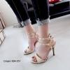 รองเท้าส้นสูงรัดข้อ ตอกหมุด สไตล์ Valentino (สีครีม)