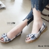 รองเท้าคัทชูส้นแบน เกาหลี สไตล์โบฮิป(น้ำเงิน)