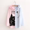 Pre-Order เสื้อฮู้ดแขนยาวตัดต่อผ้าครึ่งตัว สีททูโทน ลายแมว