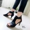 รองเท้าส้นสูงสไตล์ Shoelism ที่มาพร้อมซิปหลัง(สีดำ)