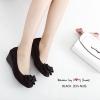 รองเท้าคัทชูส้นเตารีด ประดับโบว์(สีดำ)