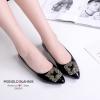 รองเท้าคัทชูส้นแบน หนังแก้ว(สีดำ)