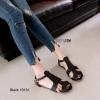 รองเท้าส้นแบน ส้นเตี้ย Sandals pu หนังนิ่ม(สีดำ)