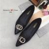 รองเท้าคัทชูส้นแบน หัวแหลม(สีดำ)