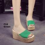 รองเท้าส้นเตารีด สไตล์เกาหลี(สีเขียว)