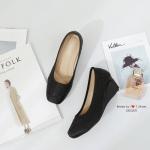 รองเท้าคัทชูส้นเตารีด ผ้าซาติน(สีดำ)