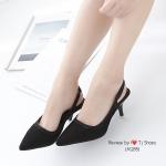 รองเท้าคัทชูส้นสูง ผ้าลูกไม้รัดส้น(สีดำ)