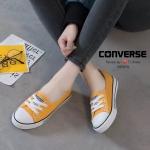 รองเท้าผ้าใบ ส้นเเบน(สีเหลือง)