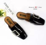 รองเท้าคัทชูส้นตัน เปืดท้าย(สีดำ)