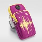 สายรัดแขนวิ่ง สีชมพู Armband ใส่โทรศัพท์ กันน้ำ ช่องใส่ของ 2 ช่อง