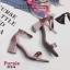รองเท้าส้นตัน ผ้าซาติน(สีม่วง) thumbnail 1