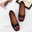 รองเท้าคัทชูส้นแบน ผ้ากำมะหยีซับเงานิ่ม(สีดำ) thumbnail 3