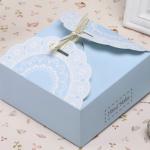 กล่องใส่ขนม ใส่คุ๊กกี้ สีฟ้า 10 ใบ BAKE189